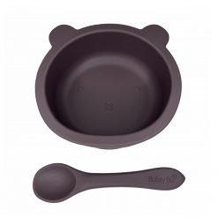 Baby Bear Bowl & Spoon Aubergine